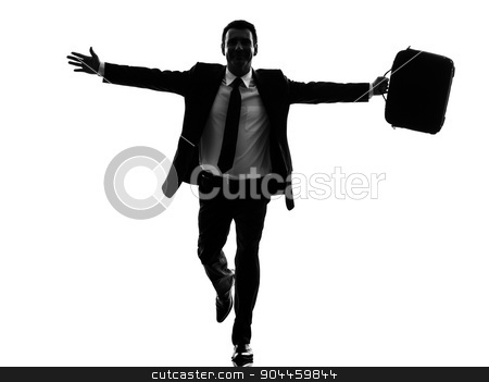 business man running happy arms outstretched silhouette stock photo, one caucasian business man running happy arms outstretched in silhouette on white background by Ishadow
