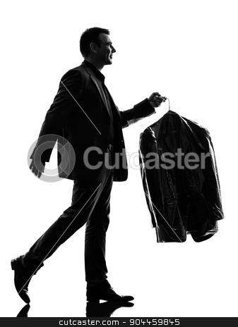 business man holding dry clean clothes  silhouette stock photo, one caucasian business man holding dry clean clothes in silhouette on white background by Ishadow