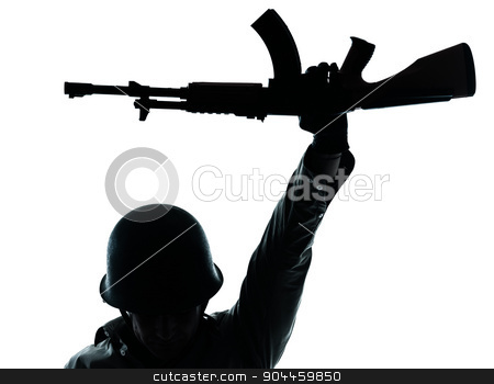 revolutionary army soldier man silhouette stock photo, one  revolutionary army soldier man holding ak47 kalachnikov on studio isolated on white background by Ishadow