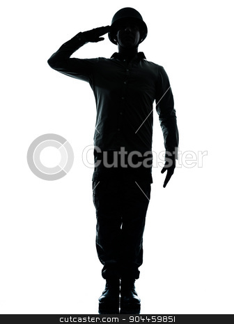 army soldier man saluting silhouette stock photo, one  army soldier man army soldier man saluting on studio isolated on white background by Ishadow