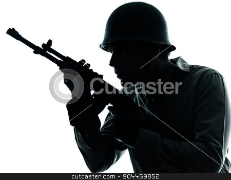 army soldier man portrait silhouette stock photo, one  army soldier man portrait on guard on studio isolated on white background by Ishadow