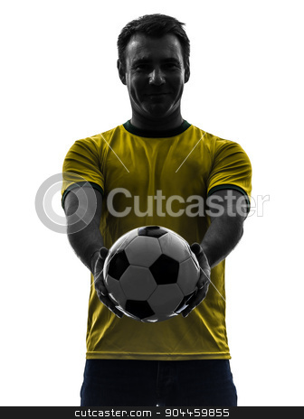 man showing giving soccer football  silhouette stock photo, one  man showing giving soccer football in silhouette on white background by Ishadow