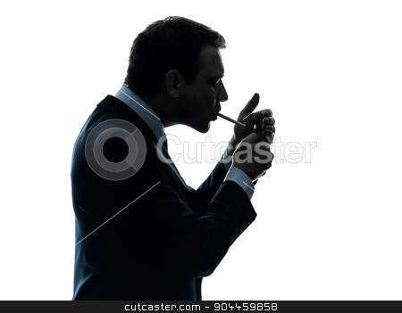 man smoking cigarette silhouette stock photo, one  man smoking cigarette in silhouette studio isolated on white background by Ishadow