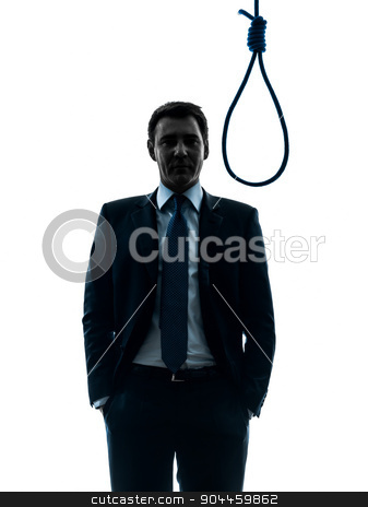 man judge in front of  hangman noose silhouette stock photo, one  man judge standing in front of hangman's noose in silhouette studio isolated on white background by Ishadow