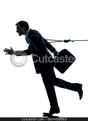 business man catched by lasso rope silhouette stock photo, one  business man catched by lasso rope in silhouette studio isolated on white background by Ishadow