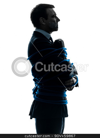 business man tied up prisoner silhouette stock photo, one  business man tied up prisoner in silhouette studio isolated on white background by Ishadow