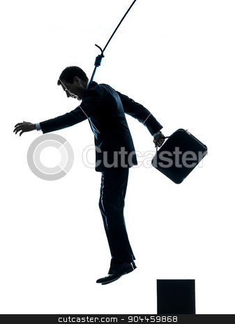 business man suicidal hanging silhouette stock photo, one  man business man suicidal hanging in silhouette studio isolated on white background by Ishadow