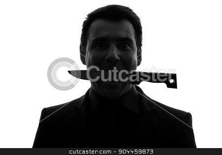 man biting knife silhouette stock photo, one  man biting knife in silhouette studio isolated on white background by Ishadow