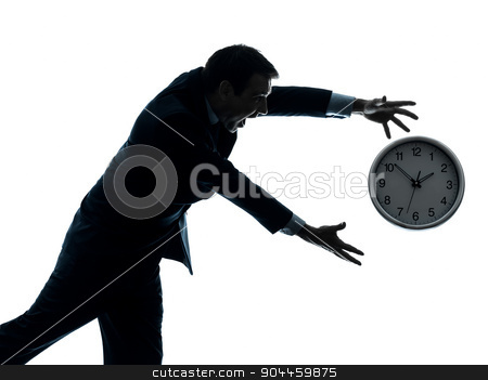 business man running after clock silhouette stock photo, one  businessman running after time in silhouette studio isolated on white background by Ishadow