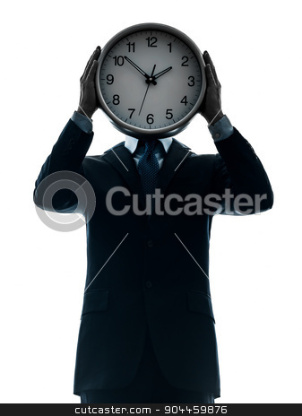 business man holding clock silhouette stock photo, one  businessman holding clock in silhouette studio isolated on white background by Ishadow