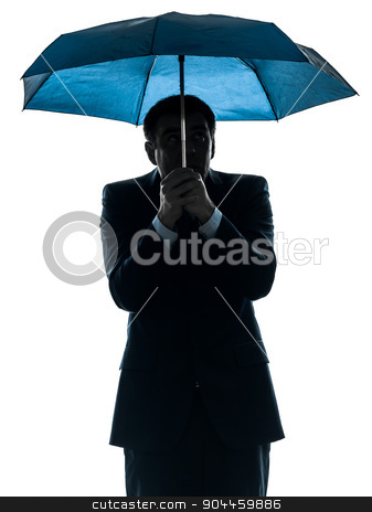 anxious business man under umbrella silhouette stock photo, one  anxious business man under umbrella in silhouette studio isolated on white background by Ishadow