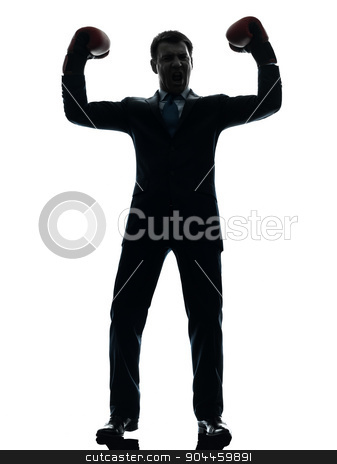 business man with boxing gloves  silhouette stock photo, one  businessman with boxing gloves in silhouette studio isolated on white background by Ishadow