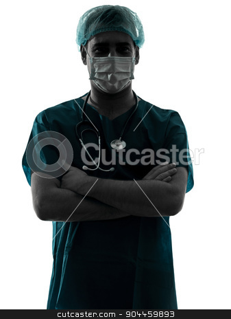 doctor surgeon man portrait with face mask arms crossed silhouet stock photo, one  doctor surgeon man portrait with face mask medical worker arms crossed silhouette isolated on white background by Ishadow