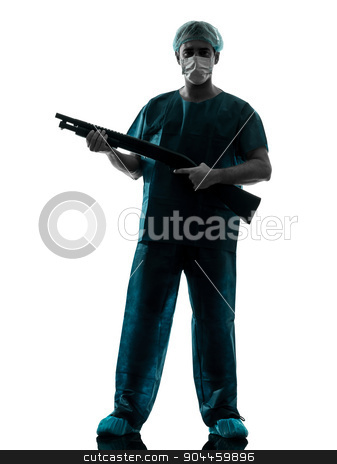 doctor surgeon man with face mask holding shotgun silhouette stock photo, one  man doctor surgeon medical worker with face mask silhouette isolated on white background by Ishadow