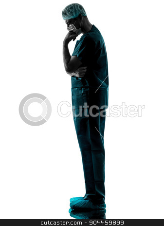 doctor surgeon man thinking with face mask full length silhouett stock photo, one  man doctor surgeon thinking medical worker with face mask full length silhouette isolated on white background by Ishadow