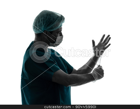 doctor surgeon man portrait with face mask latex gloves silhouet stock photo, one  doctor surgeon man latex gloves portrait with face mask medical worker silhouette isolated on white background by Ishadow