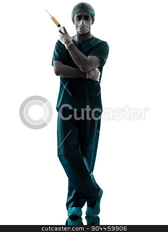 doctor surgeon Anesthetist man holding surgery needle silhouette stock photo, one  doctor surgeon Anesthetist man holding surgery needle silhouette isolated on white background by Ishadow