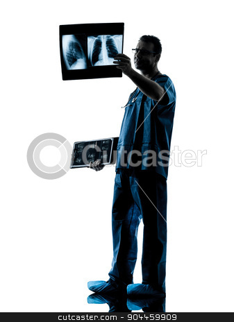 doctor surgeon radiologist examining lung torso  x-ray image sil stock photo, one  man doctor surgeon radiologist medical examining lung torso x-ray image silhouette isolated on white background by Ishadow