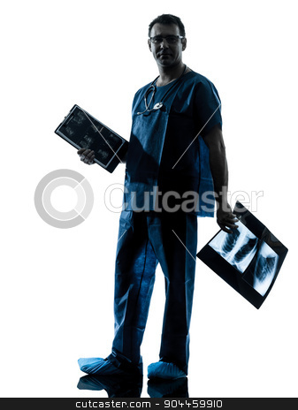 doctor surgeon radiologist silhouette stock photo, one  man doctor surgeon radiologist medical worker silhouette isolated on white background by Ishadow