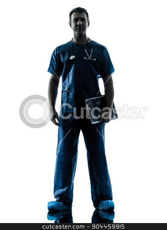 doctor man silhouette standing full length stock photo, one  man doctor surgeon medical worker standing full length silhouette isolated on white background by Ishadow