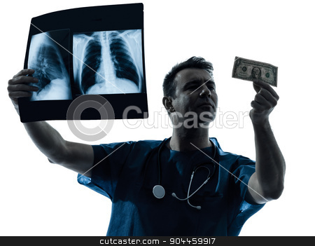 doctor surgeon man examing dollar bill silhouette stock photo, one  man doctor surgeon medical worker dollar bill silhouette isolated on white background by Ishadow