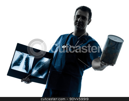 doctor surgeon radiologist holding a money box silhouette stock photo, one  man doctor surgeon radiologist medical worker holding a money box silhouette isolated on white background by Ishadow