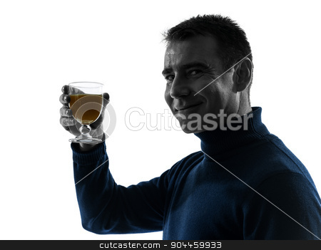 man drinking orange juice silhouette portrait stock photo, one  man drinking orange juice portrait in silhouette studio isolated on white background by Ishadow