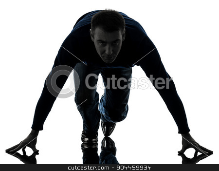 man on starting blocks silhouette full length stock photo, one  man starting blocks full length in silhouette studio isolated on white background by Ishadow