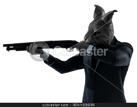 man with rabbit mask hunting with shotgun silhouette portrait stock photo, one  man rabbit mask hunting with shotgun portrait in silhouette studio isolated on white background by Ishadow