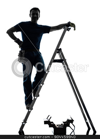 manual worker man silhouette stock photo, one manual worker man standing on ladder in silhouette on white background by Ishadow