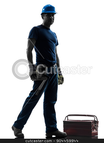 manual worker man standing silhouette stock photo, one manual worker man standing looking at camera in silhouette on white background by Ishadow