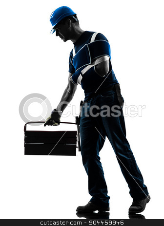 injured manual worker man with injury brace despair silhouette stock photo, one manual worker man in silhouette on white background by Ishadow