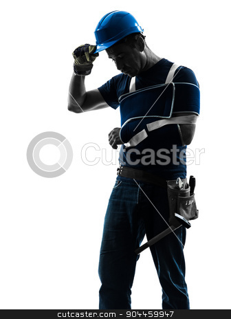 injured manual worker man with injury brace despair silhouette stock photo, one manual worker man with injury brace in silhouette on white background by Ishadow