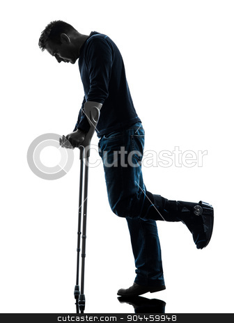 injured man walking sad with crutches silhouette stock photo, one man injured man walking sad with crutches in silhouette studio on white background by Ishadow