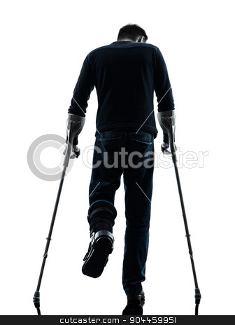 injured man walking with crutches silhouette rear view  stock photo, one man injured man walking with crutches rear view in silhouette studio on white background by Ishadow