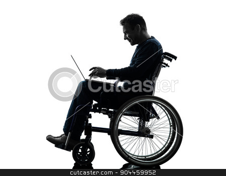 handicapped man computing laptop computer  in wheelchair silhoue stock photo, one handicapped man computing laptop computer in silhouette studio on white background by Ishadow
