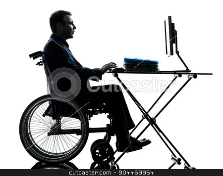 handicapped business man computing laptop computer  in wheelchai stock photo, one handicapped business man computing laptop computer in silhouette studio on white background by Ishadow