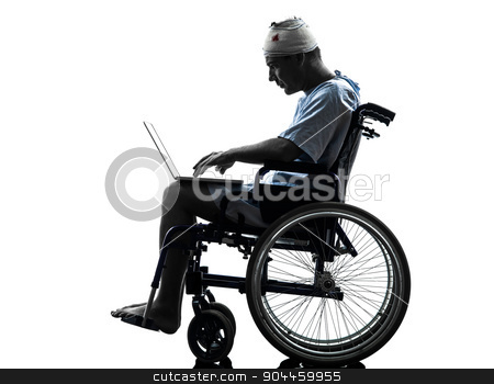 injured man in wheelchair computing laptop computer silhouette stock photo, one injured man in wheelchair in silhouette studio on white background by Ishadow