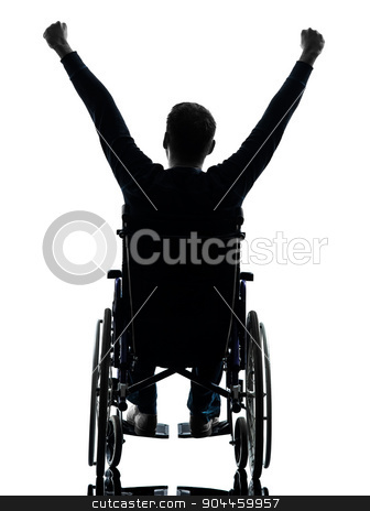 rear view handicapped man arms raised  in wheelchair silhouette stock photo, one handicapped man arms raised rear view in silhouette studio on white background by Ishadow