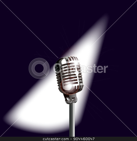 Retro Stage Microphone stock vector clipart, A microphone ready on stage for the performer by Kotto