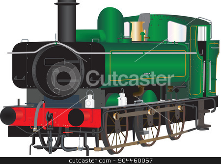 Vintage Shunting Loco stock vector clipart, A Vintage Green Steam Shunting Railway Locomotive isolated on white by d40xboy