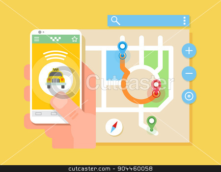 Taxi application  stock vector clipart, Mobile taxi application. Transport service, position pin on map. Flat vector illustration by Dmitry Kalabin