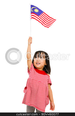 Asian Chinese Little girl with Malaysia Flag stock photo, Asian chinese child with Malaysia Flag in isolated white background. by Tan Kian Khoon