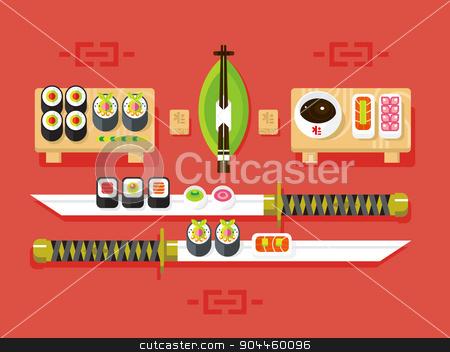 Japanese cuisine, sushi stock vector clipart, Japanese cuisine. Food traditional, sushi roll and seafood, ingredient nutrition, vector illustration by Dmitry Kalabin