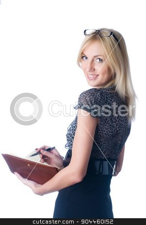 Woman with daily log stock photo, The beautiful young girl with a diary on a white background.. by Aikon