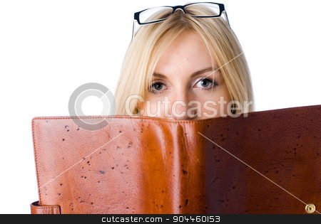 Woman with daily log stock photo, The beautiful young girl with a diary on a white background by Aikon