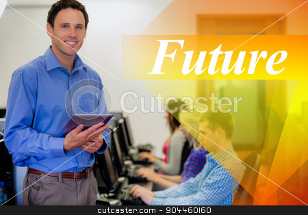 Future against teacher with students using computers in computer stock photo, The word future against teacher with students using computers in computer room by Wavebreak Media
