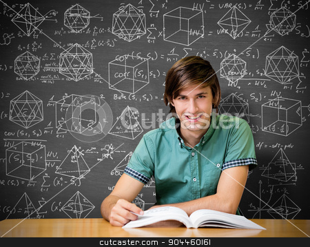 Composite image of student sitting in library reading  stock photo, Student sitting in library reading  against black background by Wavebreak Media