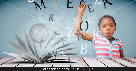 Composite image of portrait of cute schoolgirl with hand raised stock photo, Portrait of cute schoolgirl with hand raised against light design shimmering on silver by Wavebreak Media