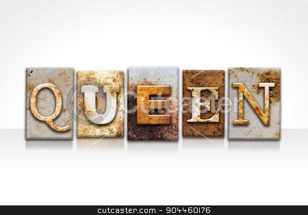 Queen Letterpress Concept Isolated on White stock photo, The word